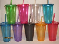 Double Walled 16 oz Tumblers - Travel Cup/Mug w/ Lid & Straw