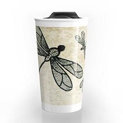 Society6 Dragonflies On Tan Texture Travel Mug 12 oz