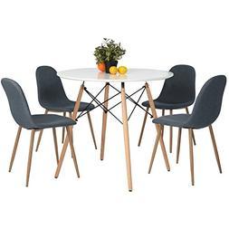Coavas Kitchen Dining Table White Round Coffee Table Modern