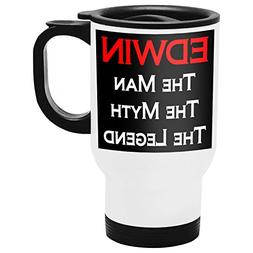 Edwin Travel Mug, Personalized Gift, The Man the Myth The Le