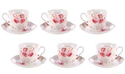 Espresso Cups and Saucers Set of 6 Rose Painting Pattern 2.8