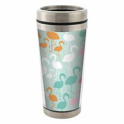 Flamingo Pattern 16 oz Travel Mug with Lid