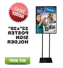 """Floor Standing Poster Display Stand Sign Holder 22"""" X 28"""" Bl"""