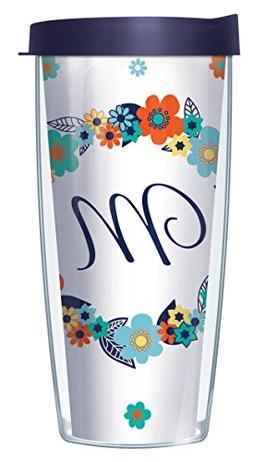 "Floral Wreath Cursive Letter ""M"" Initial 16 Oz Traveler Tumb"