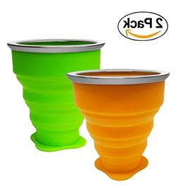 2 PACK Folding Cup, Collapsible Travel Cup, 8oz Food-Grade S