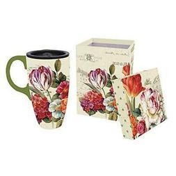 Garden View Flowers Ceramic Coffee Travel Mug with Gift Box