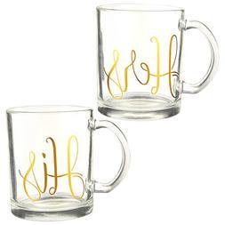 Glass Coffee Mug - 2 Pack Clear Large Tea Cup 16 Ounces - Hi