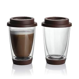 Sweese Glass Travel Coffee Mug Set of 2 - Double Wall Thermo