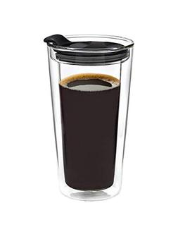 Godinger Glass Travel Coffee Mug with Lid - Double Wall Ther