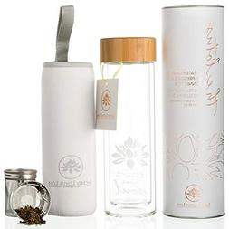 The Lotus Glass Tea Tumbler Travel Bottle with Infuser and S