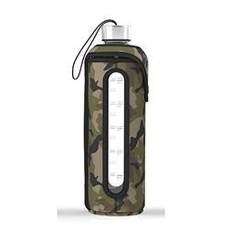 32 Oz Glass Water Bottle Insulated Sleeve Leak Proof Lids Ti