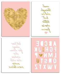 """8"""" x10"""" Gold Heart Nursery Prints for Baby Girl & Children R"""