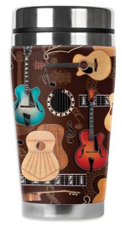 Mugzie Guitars Travel Mug with Insulated Wetsuit Cover, 16 o