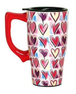 Spoontiques Hearts Travel Mug, Multi Colored
