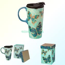 Cypress Home Metallic Butterfly Ceramic Travel Coffee Mug, 1