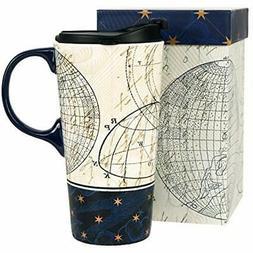 Ivy Home Ceramic Travel Mug Coffee Cup 17 Oz, Starstruck Kit