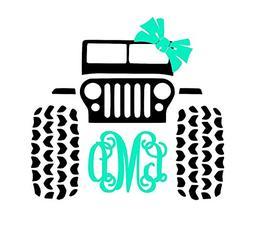 Custom Jeep 4x4 Monogram Decal Sticker for Laptop Locker Car