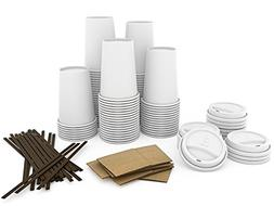 JUMBO Set of 110 - Paper Coffee Hot Cups, Travel Lids, Sleev