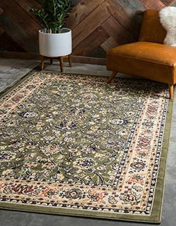 Unique Loom Kashan Collection Traditional Floral Green Home