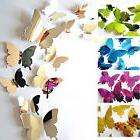 12PCS 3D Butterfly DIY Art Mirror Wall Stickers Home Decal K