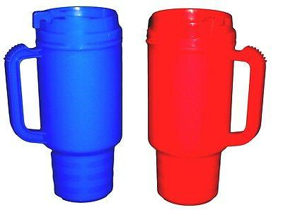 2 Coffee Cup Travel Mugs Holds 18 oz 1 ea Red & Blue Made in