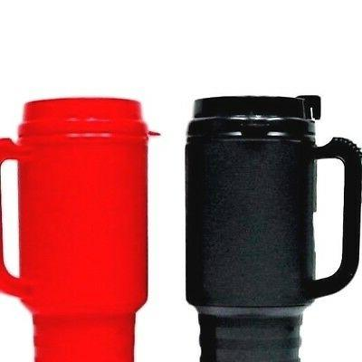 2  Coffee Cup Travel Mugs Holds 18 Oz 1 ea Red & Black Air I