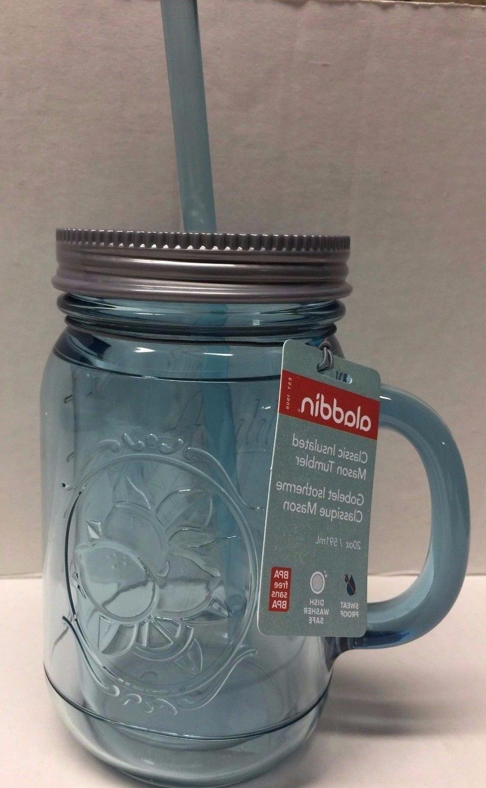 20 ounce plastic insulated mason jar tumbler