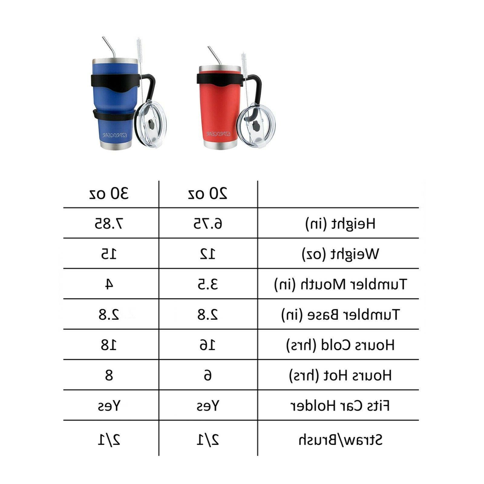 30 Stainless Steel Tumbler w/ & Straws Travel Coffee