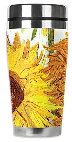 "Mugzie 336-MAX ""Van Gogh: Sunflowers"" Stainless Steel Travel"