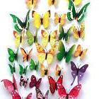 48pcs 4 Colours 3D Butterfly Magnet & Wall Stickers Fridge H
