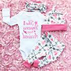 4PCS Newborn Infant Baby Girl Outfits Clothes Set Romper Bod