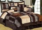 7 Piece Comforter Set Leopard Cozy Faux Fur Microsuede Micro
