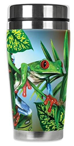 "Mugzie 736-MAX ""Red Toe Tree Frog"" Stainless Steel Travel Mu"