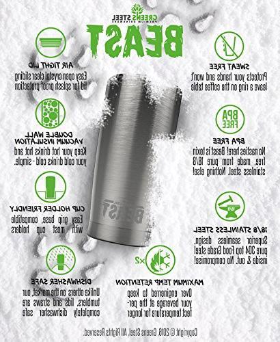 BEAST Stainless Steel Travel Flask Splash Lid, Straws, Gift Greens