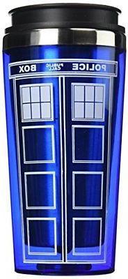 """Bif Bang Pow! """"Doctor Who TARDIS"""" Travel Mug, 16 oz, Blue"""