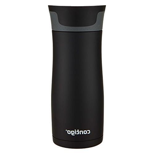Vaccuum-Insulated Mug, Steel & Black, 2-pack
