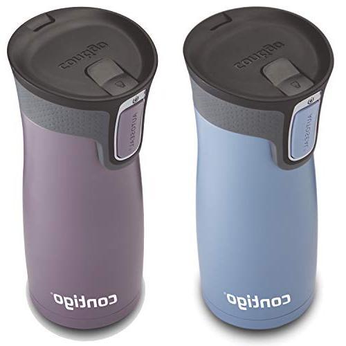 Contigo Vacuum-Insulated Stainless Steel Mug, 16 Earl Grey/Dark Plum
