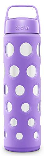 Ello Pure BPA-Free Glass Water Bottle with Lid, 20 oz, Purpl