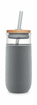 Ello Devon 20OZ Glass Tumbler with Straw, Grey, 20 Oz.