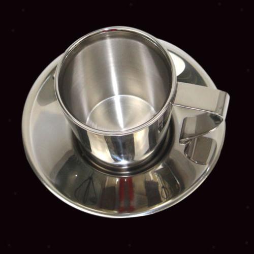 Double Wall Insulated Coffee Mug Tea Espresso Cup with Sauce