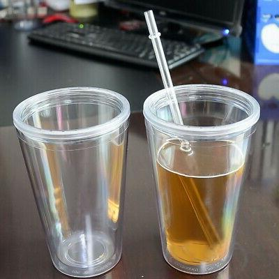 A1809 Double Walled Travel & Straw BPA Clear Cups 16 oz