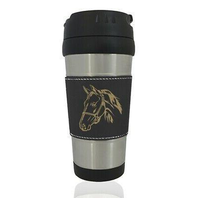 faux leather travel mug horse head 2