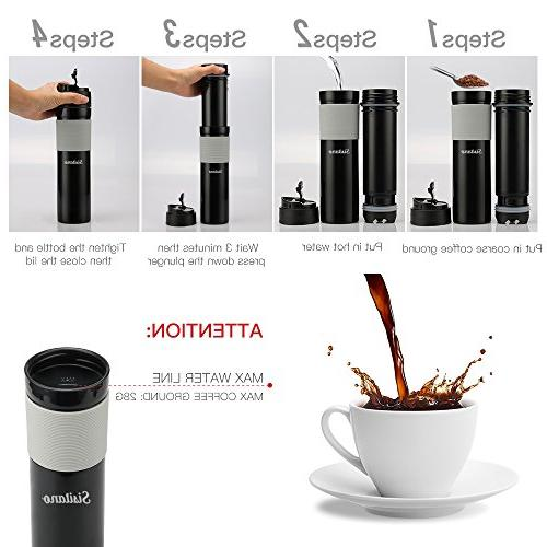 Portable French Maker - Insulated Travel Mug - Hot and Coffee - Great Commuter