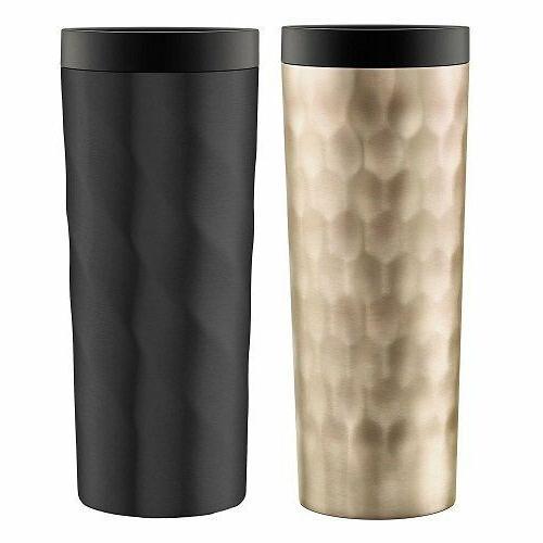 Ello Hammertime Stainless-Steel Travel Mugs, Gold & Matte Bl
