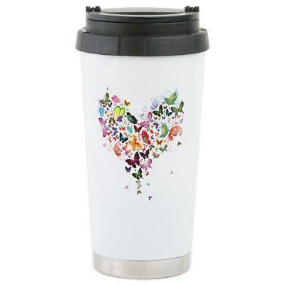 heart of butterflies travel mug stainless steel