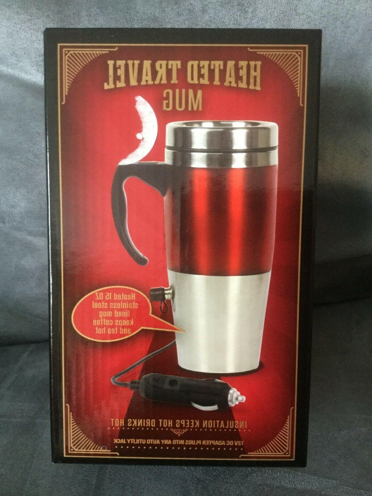 heated travel mug 15 oz red silver