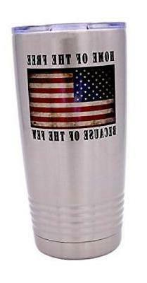 Home of the Free Military Veteran 20 Oz. Travel Tumbler Mug