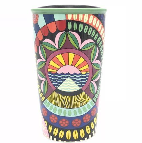 Starbucks Jessie And Katey Ceramic Travel Mug Tumbler 12 Oz