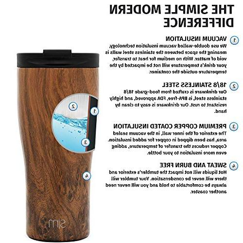 Simple Travel Mug Straw Lid Flip - Insulated Coffee Cup Stainless Steel