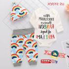 Newborn Baby Girl Boy Rainbow Romper Tops Jumpsuit+Pants Hat